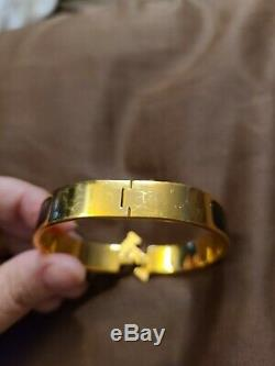 Hermes CLIC H Noir Ton Or Bracelet Taille Pm