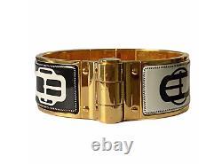 Hermes Charniere Hinged Enamel Positif Negatif Bracelet En Or Noir Et Blanc