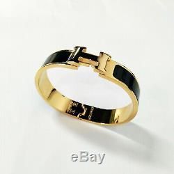 Hermes Classique En Émail Noir CLIC Clac H Bracelet En Or Taille Pm