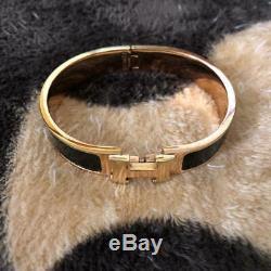 Hermes Email H Bracelet H Noir CLIC Clac X Or Raffinez Émail Bracelet 2,48