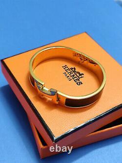 Hermes H CLIC Clac Narrow Bracelet Pm Black Enamel Gold Cuff Bangle