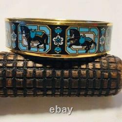 Hermes Large Plaqué Or Noir, Turquoise Émail Bracelet D'angle Équestre