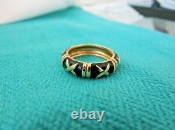 Hidalgo 18k Or Noir Émail 5,5 MM X Eterlity Band Ring Sz 6 1/2