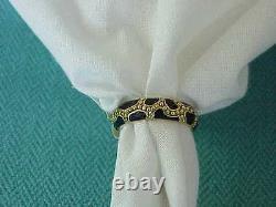 Hidalgo Or Jaune 18k Black Enamel Vintage 5 MM Wide Ring Sz 6 1/2 Stack Ring