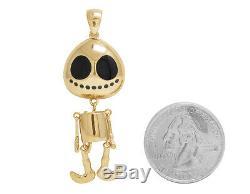 Hommes 14k Charm Danse Or Jaune Émail Noir Visage Rond Squelette Pendentif 1.7