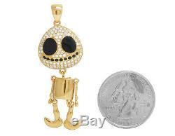 Hommes En Or Jaune 14k Émail Noir Visage Rond Squelette Vrai Diamant Pendentif 1ct