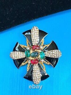 Impressionnant Ciner Maltese Cross Cabochon Cristal Noir Enamel18k Broche Plaquée Or