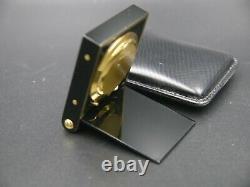 Jaeger Lecoultre Handwind Desk Réveil Noir Émail Or Plaqué Vierge