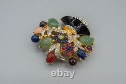 Judith Leiber Flower Urn Basket Broche Broche Pin Vintage Noir Vert Cristal Or Ton