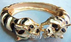 Kenneth J Lane Kjl Black Gold Enamel Panther Leopard Cat Bracelet Tigre