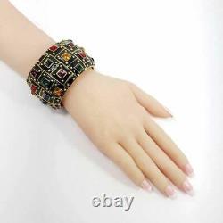 Kjl Kenneth Jay Lane Jeweled Deco Bangle Bracelet, Enamel Noir, Cristaux, Or