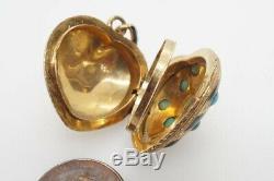 L'or Noir Émail Antique Victorian English Qualité & Turquoise Coeur Médaillon