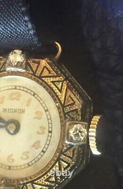 Ladies Anciennes Wrist Watch 14k Or Jaune Émail Diamond Mignon Preciosa Suisse