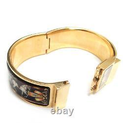 Lève-sur Hermes Plaqué Or Loquet Émail Noir Cheval Bracelet Montre-bracelet # 2