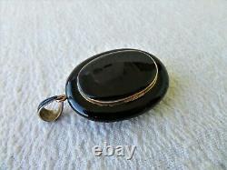 Lge Victorian Gold Black Enamel & Seed Pearl Mourant Pendant / Locket 24.68gs