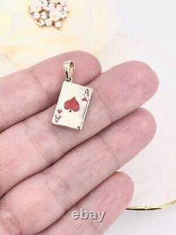 Lucky 14k Yellow Gold, Ace Of Hearts 2 Sided (rouge/noir) Card Enameled Pendant