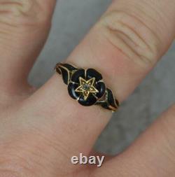 MI Victorien 15ct Or Noir Émail Et Diamond Mourning Ring