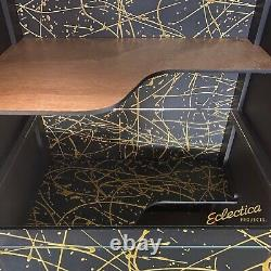MID Century Heals Buffet Vintage Cocktail Boissons Cabinet Black Gold Rosewood