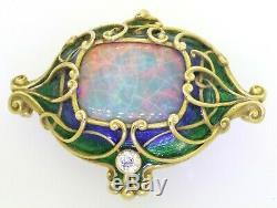 Marcus & Co. Art Nouveau En Or 18 Carats Vs Diamant / 16 X 13mm Opale Noire Émail Broche