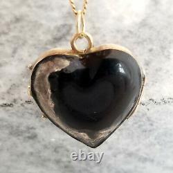 Médaillon Victorien Noir De Coeur D'émail, Or Et Argent Jaunes De 10k, Domaine Antique