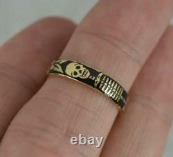 Momento Mori 18 Carat Gold Et Black Enamel Skeleton Band Ring K 1/2 3.9mm Large