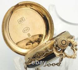 Montre Vintage Smith Patterson & Co. Avec Chaîne 14k 14k/enamel Gold Runs Swiss