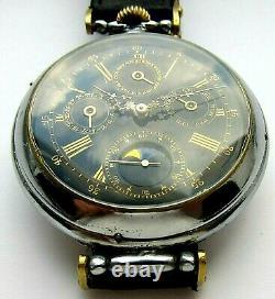 Montre-bracelet Rare Calendrier Annuel Sur Base Montre De Poche, Cadran Émail Noir, 52 MM