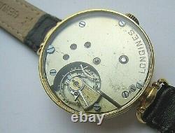 Montre-bracelet Suisse Longines Pour Homme, Mécanisme Rare, Cadran Émail, Boîtier Plaqué Or