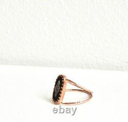 New Auth Pascale Monvoisin Mahe Ring Black Enamel Diamond Rose Gold Nouveau