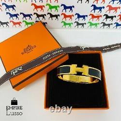 New Hermes Clac Matériel Or CLIC Noir H Raffinez Émail Bracelet Manchette Pm