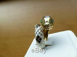 Noir Blanc 18 Carats Vintage Or Jaune Émail Diamant Bague Serpent Émeraude 6,25 17,6 G