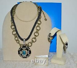 Nouveau $240 Heidi Daus Newport Chic Enamel 3 Pc Set Collier Boucles D'oreilles Pierced Noir