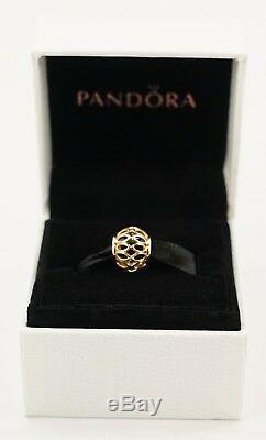 Nouveau Authentique Pandora 14k Or Royal Victorian Avec Émail Noir Charm 750814en16