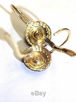 Or 14k. 50 H Ctw Diamant Si1 Mine Cut Émail Noir Style Victorien Boucles D'oreilles