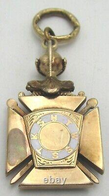 Or Antique & Chevaliers Émaillés Templier Fob, Chevalier D'or Croix Rouge Bouclier Noir