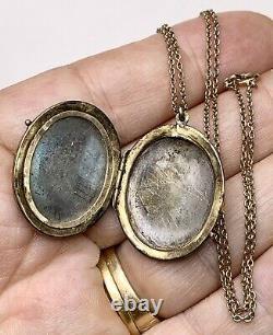Or Antique Deuil Médaillon Collier De Remplissage Émail Noir Et Semences Perles Memorial