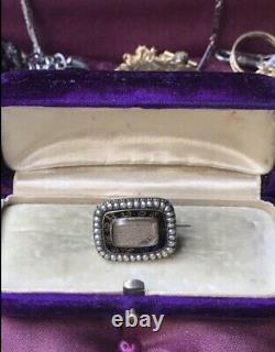 Or Géorgien À La Mémoire De Brooch Mourning Black Enamel Pearl