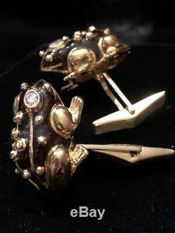 Or Jaune 18 Carats Vintage. Émail Diamant 52ct Vs / F Noir Grenouille Boutons De Manchette 25,1 G