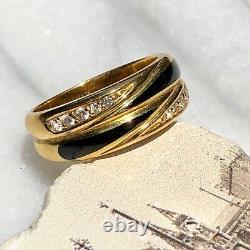 Or Jaune 18k Diamond Black Enamel Vintage Band Ring 7,25 Signed MV Allemand