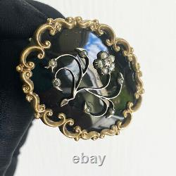 Or Victorien, Émail Noir, Broche De Deuil Pearl & Diamond Circa 1840