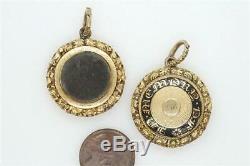 Paire Antique Anglais Or Noir Laque Cheveux Deuil Médaillons C1829 Sarah Barton