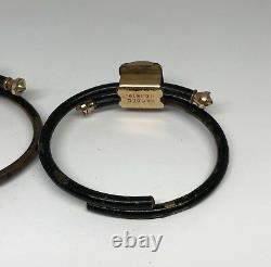 Paire Victorienne De Bracelets De Bracelets En Émail Rempli D'or Noir Vers 1879