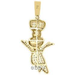 Pendentif 10k Yellow Gold Diamond Doughboy 2.25 Rouge / Noir Émail Charm 2 Ct