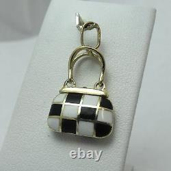 Pendentif 14k Gold 3d Black & White Checkerboard Enamel Purse Charm Pendant 2.9gr