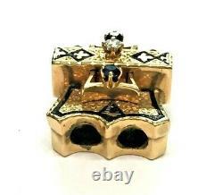 Pendentif Antique 14k Solid Yellow Gold Diamond Sapphire Black-enamel Slide