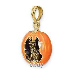 Pendentif De Charme De Citrouille Orange Sculptée En Or Jaune 14k Avec Chat Et Lune À L'intérieur