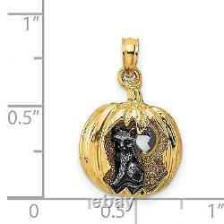 Pendentif De Charme De Citrouille Sculpté D'or Jaune Avec Le Chat Et La Lune À L'intérieur