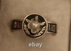 Perle Antique Émail Noir Anneau De Deuil Or