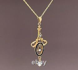 Perles De Graines D'or Jaune 10k Et Pendentif Émail Lavaliere Noir (#j4956)