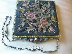 Point De Broderie Florale D'or Émail Antique Bijou Cadre Soie Interdite Bourse # 1